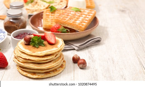 assorted crepe, pancake and waffle