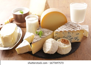 assorted of dairy product- cheese, milk, butter, yogurt