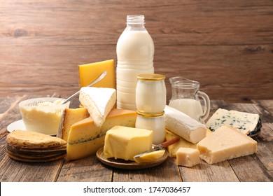 assortiment de produits laitiers avec lait, beurre, fromage