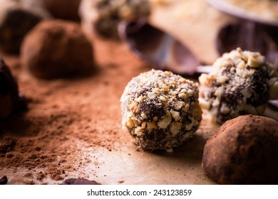 Assorted dark chocolate truffles with cocoa powder, biscuit and chopped hazelnuts over baking paper, selective focus, close up