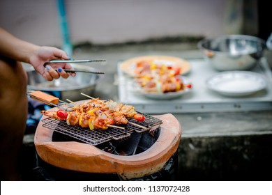 Assorted delicious barbecue with meat and vegetable on the stove.