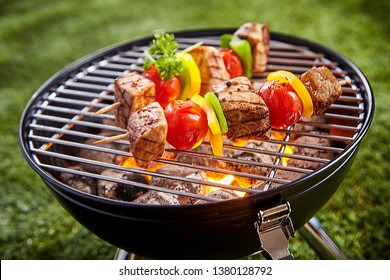 Assorted delicious grilled meat with vegetable on a barbecue grid grill. Outdoors picnic close-up