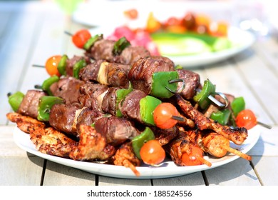 Assorted delicious grilled meat with vegetable on white plate on picnic table for family bbq party