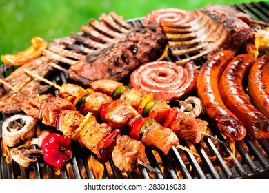 Assorted delicious grilled meat with vegetables over the coals on barbecue