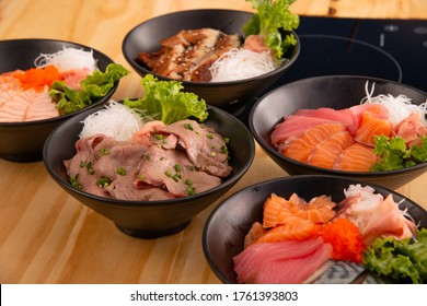 assorted of delicious Japanese food donburi and maki roll