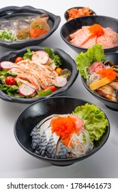 assorted of delicious Japanese meat topped on rice - Japanese donburi on white background