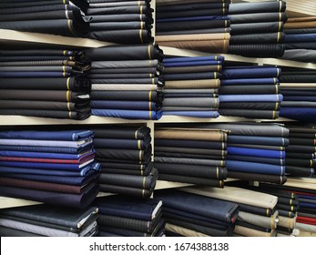 assorted difference type of wool fabric in bespoke boutique shop