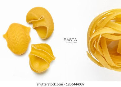 Assorted dried Italian pasta isolated on white with copy space. Tagliatelle nest and three views of lumaconi pasta in a food and nutrition concept