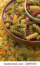 Assorted dried tricolor pasta