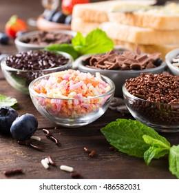 Assorted dutch hagelslag, sprinkles. Netherlands traditional sweets for breakfast.