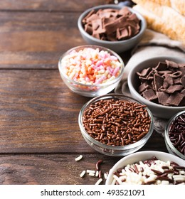 Assorted dutch hagelslag sprinkles. Netherlands traditional sweets for breakfast. Copy space.