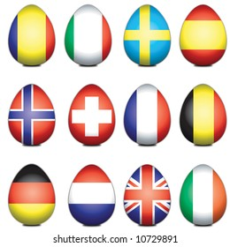 Assorted European flags styled as easter eggs