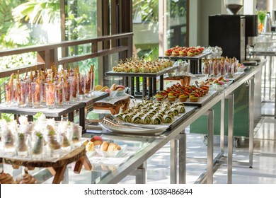 Assorted food and desserts with an Asian twist at coffee break in the hotel.