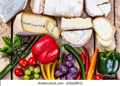 assorted food ingredients - cheese, bread, vegetables and fruits