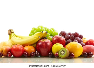 assorted fresh fruits isolated on white background, with copy space.