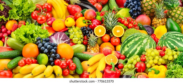 Assorted fresh ripe fruits and vegetables. Food concept background. Top view. Copy space. - Shutterstock ID 770613370