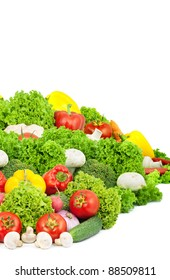 Assorted fresh vegetables isolated on white background