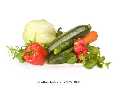 Assorted fresh vegetables on white background