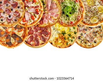 assorted of freshly baked homemade pizza. Top view. Copy space.