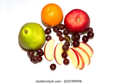 Assorted fruit on white background.