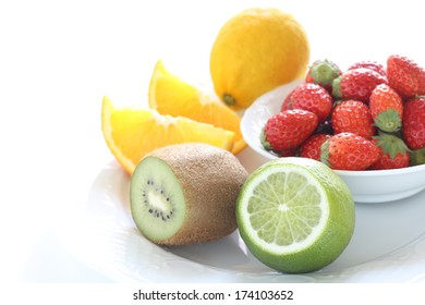 Assorted Fruit on white background with copy space, vitamin C food image