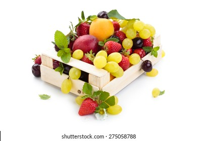 Assorted fruits and mint leaves in box. Isolated on white background.