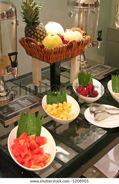 Assorted fruits in a restaurant buffet presentation