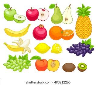 Assorted fruits set  illustration. Sweet juicy apple pear pineapple pomegranat orange peach lemon kiwi grape isolated on white background.