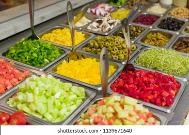Assorted fruits and vegtables for making salads