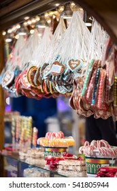 Assorted gingerbread hearts on a christmas market stand in Berlin, Germany