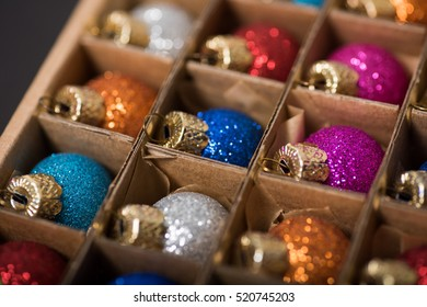 Assorted Glittery Christmas Ornaments in Box
