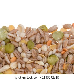 Assorted grains and pulses border background. Winter food includes split peas, red and yellow lentils, pearl barley, kamut, spelt.