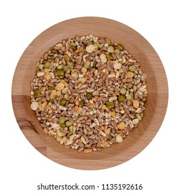 Assorted grains and pulses mix full background, top view. Winter food includes split peas, red and yellow lentils, pearl barley, kamut, spelt.