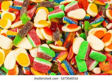 Assorted gummy candies. Top view. Jelly  sweets background.