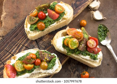 Assorted healthy sandwiches set background.  Top view. Making sandwiches concept. Lunch time snacks.