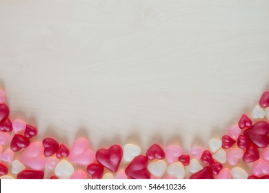 Assorted heart shaped jelly candy and spa?e for text