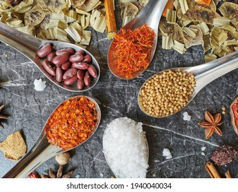 Assorted herbs, spices, seasonings, grain on the table
