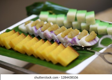 Assorted homemade Nyonya Kueh or Kuih Popular sweet dessert in Asian countries such as Singapore and Malaysia including Penang, Malacca and Kuala Lumpur.