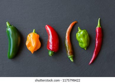 Assorted hot peppers (chili, jalapeno, habanero)