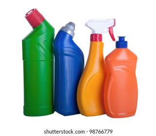 Assorted household cleaning products. White background.