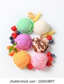 Assorted ice cream with fresh fruit