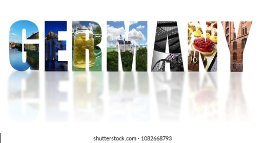 Assorted images of Germany in collage with reflection on white background