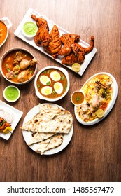 Assorted Indian Non Vegetarian food recipe served in a group. Includes Chicken Curry, Mutton Masala, Anda/egg curry, Butter chicken, biryani, tandoori murg, chicken-tikka and naan/roti for ramadan