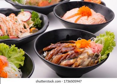 assorted of japanese donburi on table