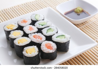 Assorted Japanese sushi maki meal