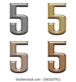 Assorted metallic color chiseled metal number five 5 in a 3D illustration in a silver gold copper & bronze rough textured bold font isolated on a white background with clipping path.