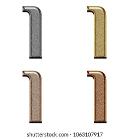 Assorted metallic color chiseled metal number one 1 in a 3D illustration in a silver gold copper & bronze rough textured bold font isolated on a white background with clipping path.