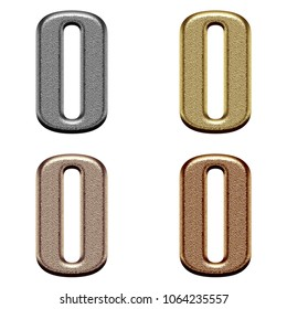 Assorted metallic color chiseled metal uppercase or capital letter O or number zero 0 3D illustration in a silver gold copper & bronze bold font isolated on a white background with clipping path.