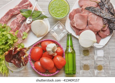 Assorted mexican food ingredients to make stew
