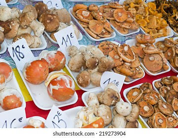 Assorted mushrooms in traditional market